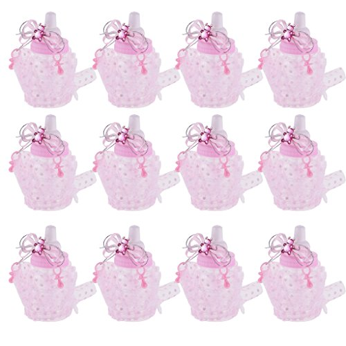 Boxen Gastgeschenke Packung Schmucksache Milch Flasche für Baby Shower Party, 12 Stück - Rosa (Baby-mädchen-bevorzugung Boxes)