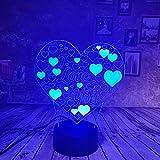 WangZJ 3d Illusion Lampe / 3d Nachtlicht / 7 Farben Touch/Schlafzimmer Nachttischlampe/Weihnachten Dekor Geschenke/Kinder Geschenke/Liebe Herz
