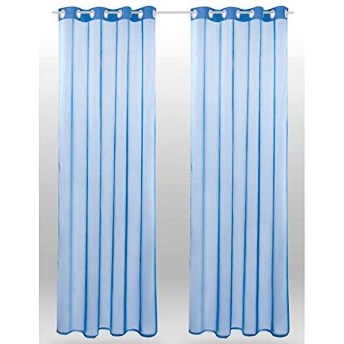 Ösenschal Noella, transparenter Dekoschal Voile b 140x l 245 cm 2er Pack, elegantes und stilvolles Wohnaccessoire in vielen verschiedenen Farben erhältlich (blau - mittelblau / ohne Raffhalter)