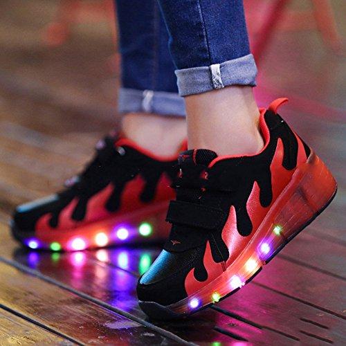 CICI 3D gewebte leichte Kinder Roller Schuhe Jungen Mädchen Automatik LED beleuchtete blinkende Kinder Mode Sneakers mit einem Wheels Orange