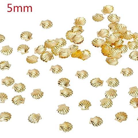 ESAILQ 100 Pcs D'or de la mer en Alliage d'argent Shell Fish 3D Métallisé Art Autocollants pour Ongles (A)