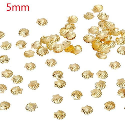 ESAILQ 100 Pcs D'or de la mer en Alliage d'argent Shell Fish 3D Métallisé Art Autocollants pour Ongles (A)