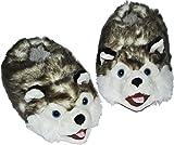 Unbekannt Hausschuh / Pantoffel -  Hund Husky  - Größe Gr. 37 38 39 40 41 42 - Plüschhausschuh / Tier - Tiere - für Kinder & Erwachsene - Plüsch / Winterhausschuhe - ..