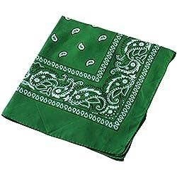 Pañuelo para la cabeza multifuncional estilo retro con estampado de cachemira; también se puede usar como diadema, velo, máscara para montar en bicicleta., hombre mujer, Verde oscuro