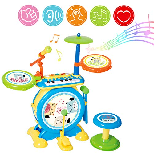deAO Electronic Rock and Roll Musical Instruments Drum Toy for Kids with Keyboard Microphone and Stool Seat
