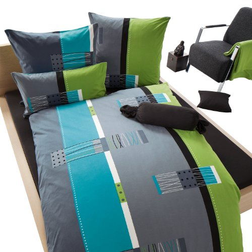 Erwin Müller Bettwäsche, Bettgarnitur, Kissenbezug Mako-Jersey grün-blau-grau Größe 135x200 cm (40x80 cm) - bügelfrei, einlaufsicher, mit praktischem Reißverschluss (weitere Größen) -