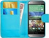 G-Shield HTC One Mini 2 Hülle mit Kartenfach Ledertasche Klapphülle PU Leder Schutzhülle Tasche Flip Case Cover Etui Handyhülle mit Displayschutzfolie und Stylus - Hellblau