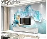 Yosot Custom 3D Fototapete Wandbild Non-Woven Wohnzimmer Fernseher Sofa Hintergrund Tapete Abstrakt Blau Guppy 3D Tapeten Home Decor-200Cmx140Cm