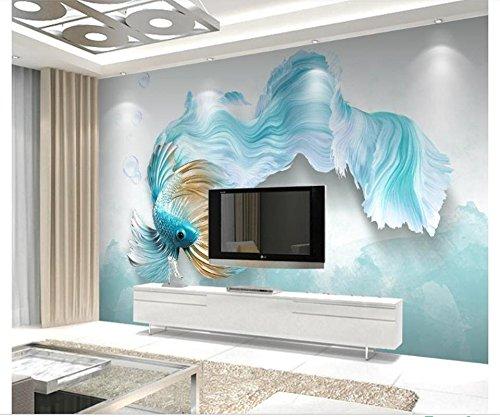 *Yosot Custom 3D Fototapete Wandbild Non-Woven Wohnzimmer Fernseher Sofa Hintergrund Tapete Abstrakt Blau Guppy 3D Tapeten Home Decor-140Cmx100Cm*