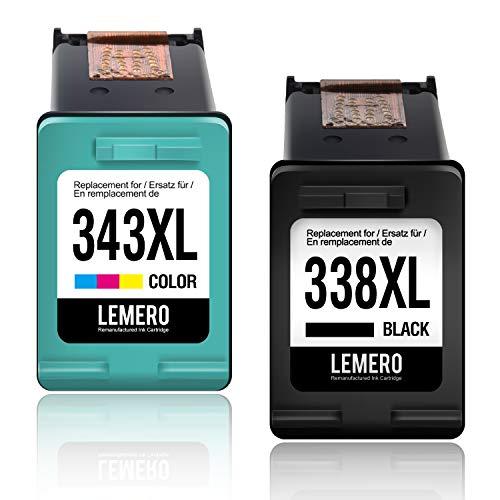 2 LEMERO Wiederaufbereitet Druckerpatronen für HP 338 343 XL für HP Photosmart C3180 2710 7850 8150 PSC 1610 2355 OfficeJet 100 150 Mobile 6210 7310 H470 K7100 DeskJet 460c 5740 -