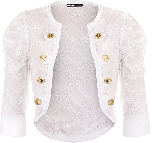 WearAll - Cardigan en dentelle à manches courtes avec les boutons décoratifs - Cardigans - Femmes - Tailles 36 à 42 Blanc