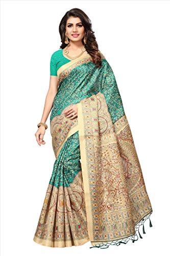 Epsilon Sales Sea Green khadi Jute khadi silk with tessals Saree With...