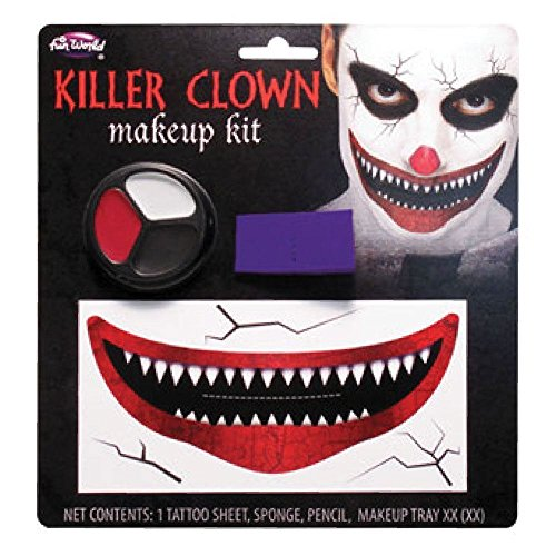 Creepy Big Mouth Creepy Clown Make-up-Set Erwachsene Halloween ES Fancy Dress Zubehör für (Kid Kostüm Killer Zombie)
