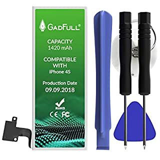 GadFull Battery compatible with iPhone 4S | 2018 Production Date | incl. Repair Set Manual & Profi Kit Tool Set | Works with All Original APN | Mobile Phone New Extra Battery