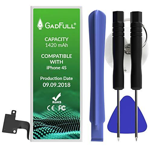 GadFull Batteria compatibile con Apple iPhone 4S | 2018 Data di produzione | Manuale Profi Kit Set di Attrezzi | Batteria di ricambio senza cicli di ricarica | Con tutti gli APN originali