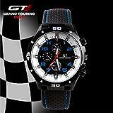 Grand Touring Sportuhr mit topaktuellen blauen Ziffern und weißem Ziffernblatt - Präzessionsuhrwerk - Analog