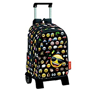 51jrNegStzL. SS300  - Emoji Icon - Mochila de bolsillos intercambiables emoticonos con carro extraíble plegable
