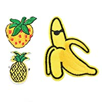 Souarts Banana Pineapple Strawberry Patch Cartoon Brooch Pin Badges Set for Clothes Bags Backpacks