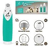 Leko Pet Haustier Krallenschleifer Nagelmaschine Nagelschleifer Wiederaufladbare Nageltrimmer für Hund und Katze, Diamantersatzscheiben, Geräuscharm, 3 Schleif Ports, USB-Anschluss (Weiß)