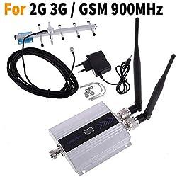 EMEBAY Répétiteur Amplificateur GSM 900MHz, Ampli Booster 900MHz 2G 3G kit Mobile Phone Amplificateur de Signal GSM Répéteur Antenne Kits