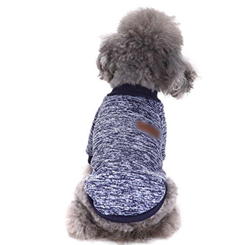 YiJee Haustier Hund Kleidung Kleine Hundchen Klassische Warme Pullover Navy XL