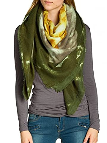 CASPAR SC459 Damen warmer XXL Schal / Tuch mit lässigem Batik Muster, Farbe:olivgrün-curry;Größe:One