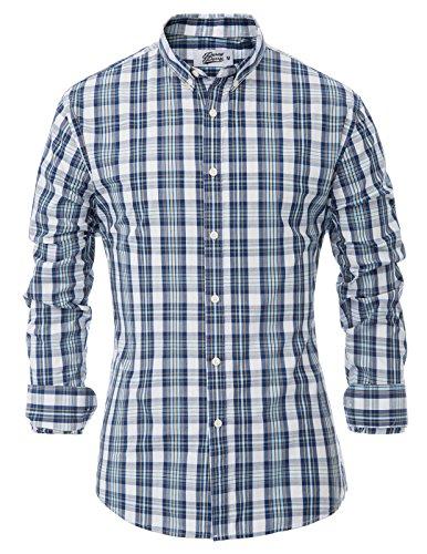 Percy Perry Herren Blau Grid Pattern Langarm Baumwolle Button-Down-Shirt S -