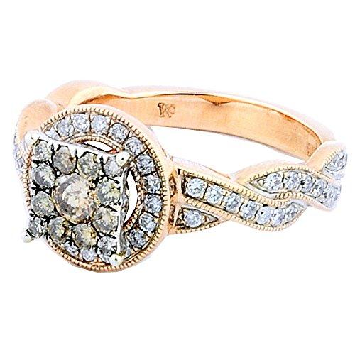 Rose Engagement Ring Diamond Gold (rings-midwestjewellery. COM Damen Rose Gold Diamond Engagement Ring 14K 2/3cttw Diamanten Cognac und weiß Diamanten 11mm breit)