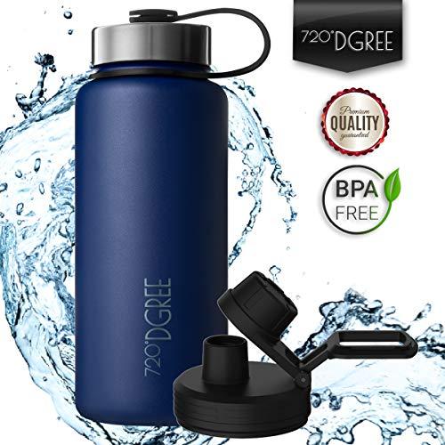720°DGREE Edelstahl Trinkflasche noLimit 950 ml / 1l | Neuartige Thermosflasche +Gratis Sportdeckel | Auslaufsichere Isolierflasche | Perfekte Outdoor Sportflasche für Kinder