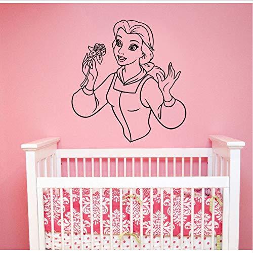 Topzt Wandaufkleber Schöne und das Biest Kunst Prinzessin Belle Vinyl Kunst Aufkleber Cartoon Dekorationen für Zuhause Kinder Mädchen Room Decor 57X62 cm