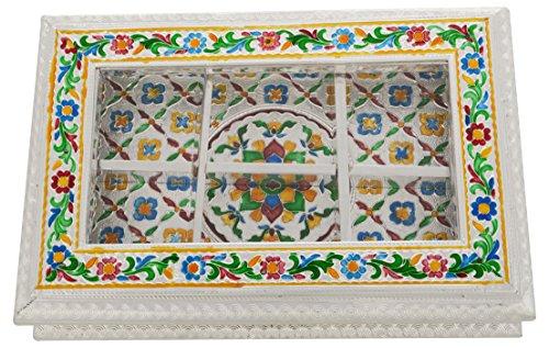 kapasi artigianali in metallo bianco Minakari decorativo frutta secca, Caramelle, cioccolatini, Fancy multiuso scatola confezione regalo Diwali (L12