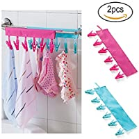 Clothes Line Pegs 2PCS Portable Washing Drying And Drying Air Travel To Peg, Hanging On The Clothesline With Six Clips
