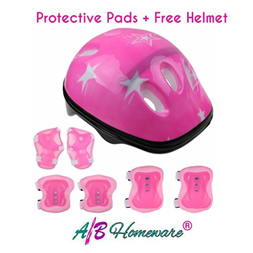 A&B HOMEWARE® KIDS PROTECTIVE GEAR PADS FOR SPORTS SKATING CYCLING RIDING AND BLADING PLUS FREE HELMET by (PINK)