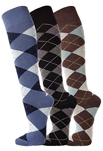 TippTexx24 FussFreunde, 3 Paar Reiterkniestrümpfe in modischen Karo Mustern (39/42, Jeans/Anthrazit/Ozean)