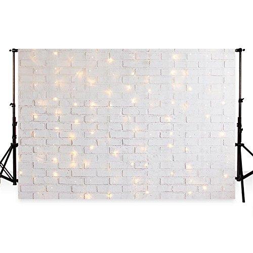 tergrund Fotografie Hintergrund für Foto Studio Hintergrund Geburtstag Weiß Ziegel Wand und Kleinen Lichtern Photobooth Hintergrund (2.2x1.5m) ()
