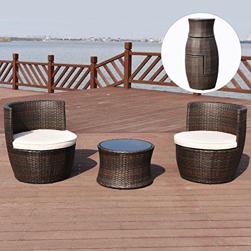 COSTWAY Poly Rattan Rattanmöbel Gartenmöbel Lounge Set Gartenlounge Gartengarnitur Gartenset Sitzgruppe Sitzgarnitur Braun
