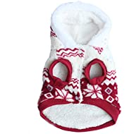 Etosell Puppy Clothes Jacket Pet Coral Hoodie Dog Fleece Winter Snowflake Print Coat Red S