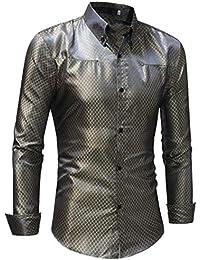 4909f49858 Constructs Camicie di Seta da Uomo Maschile Camicie A Quadri da Uomo in  Raso Rosso Nero da Uomo Slim Fit…