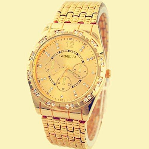 Imagen de relojes hombre,xinan metal del diamante venda cuarzo analógico reloj pulsera oro  alternativa