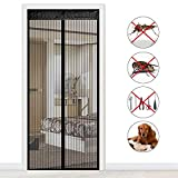 Fliegengitter Magnet Tür, GF&EL Insektenschutz Fliegen Vorhang für Balkontür Wohnzimmer Klettband Fassung Moskitonetzes für Terrassentür - Schwarz (100x210CM)