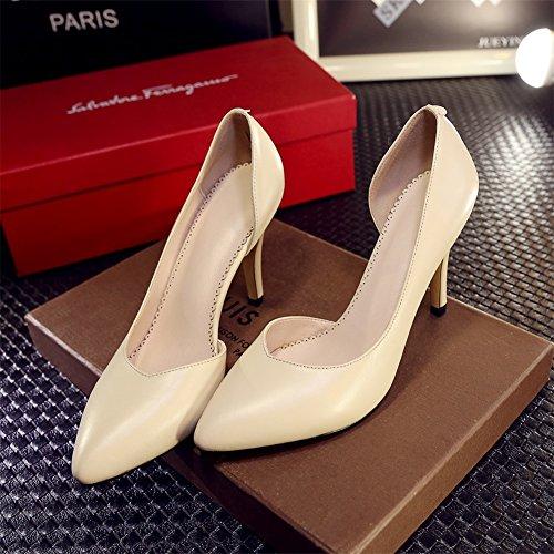RoseG Femmes Cuir Escarpins Talon Haut Aiguille Pumps Chaussures Jaune
