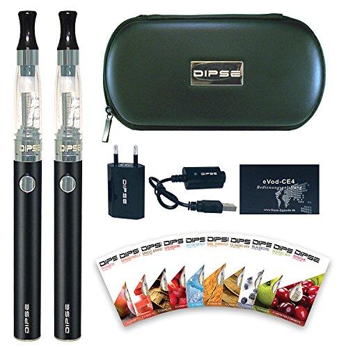DIPSE E Zigarette / e Shisha Starterset - 2x eGo-T eZigarette mit 1100mAh Evod, Ladestandsanzeige & CE4 - inklusive 10 x 1,5ml Liquid Einsteigerset ohne Nikotin (0,0mg)