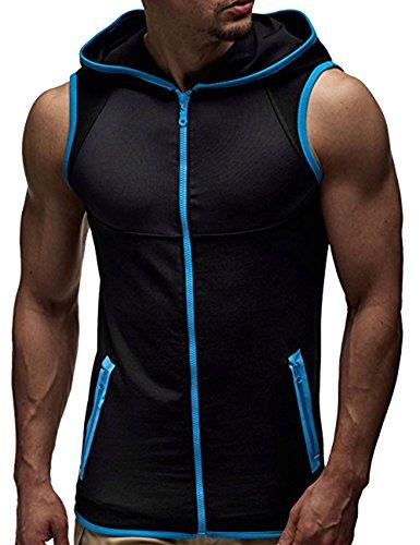 SOMTHRON Herren Ärmellose Zip Front Baumwolle Sport Hoodies Aktive Weste Jacke Reißverschluss Athletic Bodybuilder Hoodies Tanks Sportswear Tops (BE-XL)