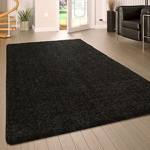 Paco Home Hochflor Wohnzimmer Teppich Waschbar Shaggy rutschfest Einfarbig In Schwarz, Grösse:80x150 cm -