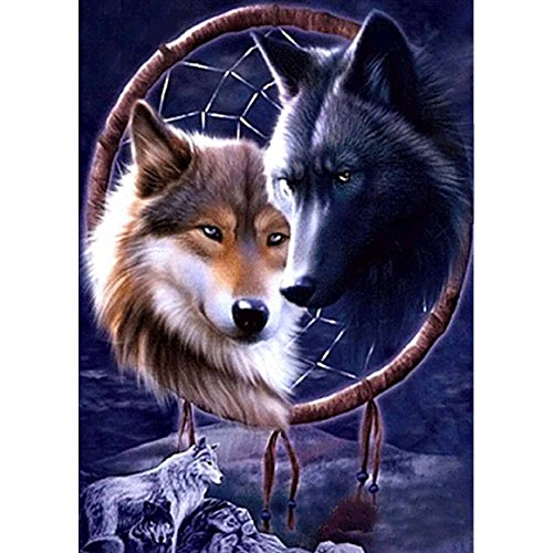 DIY 5D Diamond Painting, Crystal Rhinestone Diamond Embroidery Paintings Pictures Arts Craft for Home Wall Decor Wolf Dream Catcher 11.8 X 15.7 Inch (Decor Dream Catcher Home)