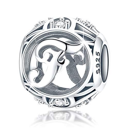 """FOREVER QUEEN Alphabet Buchstaben Charme mit klaren Zirkonia kompatibel für europäische Armbänder 925 Silber Sterling Anhänger für Halskette,BJ09121-F """"MEHRWEG"""""""