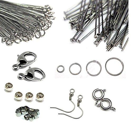 1950stk Metall Schmuckbastelset Perlen Karabiner Nietstift Bindering Ösen Ohrhaken SET Bastelset Perlenset Metall-ohrhaken