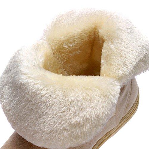 Minetom Damen Stiefeletten Mit Schleife Winterstiefel Warm Winter Boots Klassisch Snow Schuhe Beige