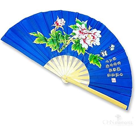 Naturaleza Mango de madera de bambú plegable Fan Tai Ji Kung Fu Artes Marciales & Dancing Prop con un bonito estampado oriental fotos on-peony-royal Color Azul