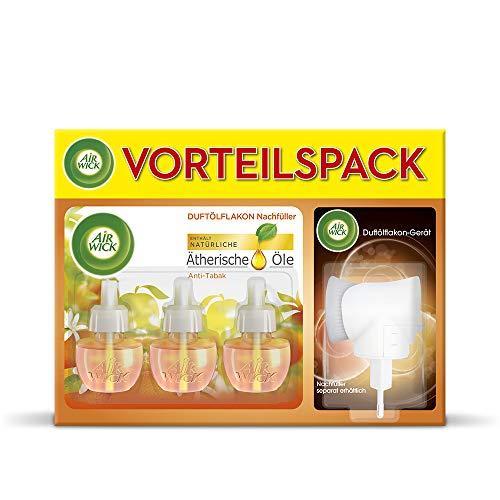 Air Wick Duftölflakon Vorteilspack - Duftstecker mit 3 Nachfüllern - Frischer Duft mit ätherischen Ölen - Duft: Anti-Tabak - 3 x 19 ml Duftöl Set